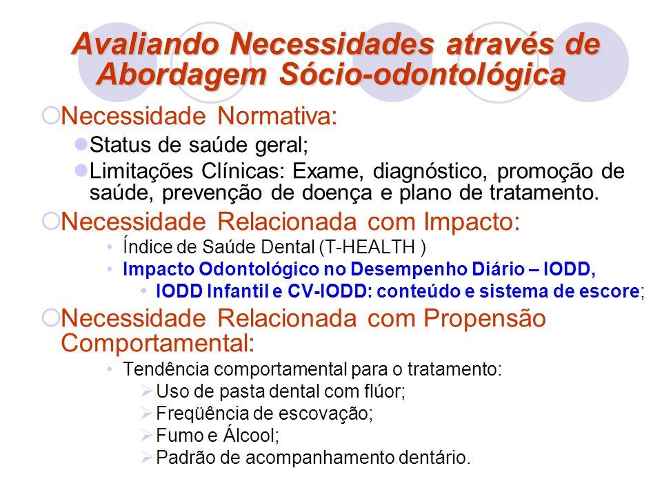 Avaliando Necessidades através de Abordagem Sócio-odontológica Avaliando Necessidades através de Abordagem Sócio-odontológica Necessidade Normativa: S