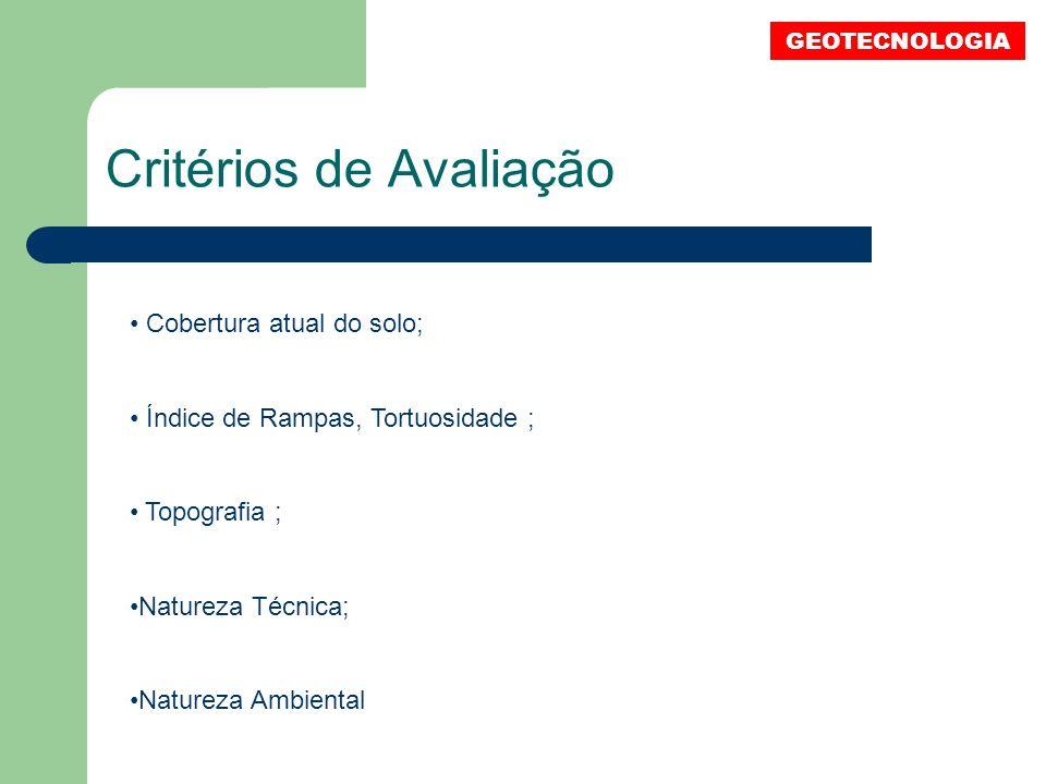 GEOTECNOLOGIA Critérios de Avaliação Cobertura atual do solo; Índice de Rampas, Tortuosidade ; Topografia ; Natureza Técnica; Natureza Ambiental