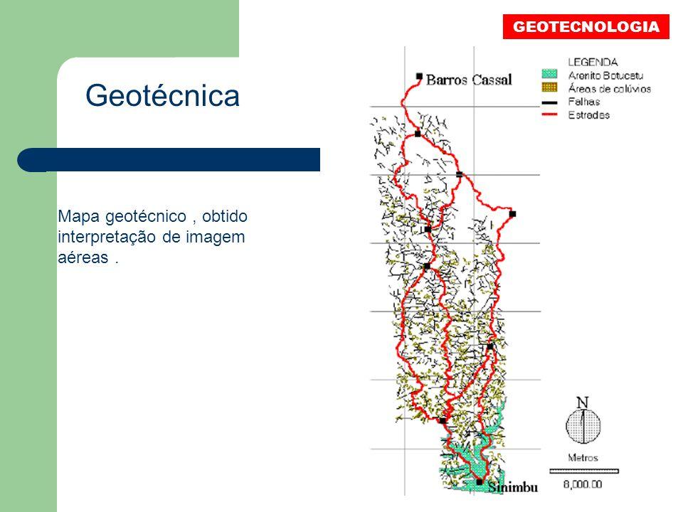 Geotécnica Mapa geotécnico, obtido interpretação de imagem aéreas. GEOTECNOLOGIA
