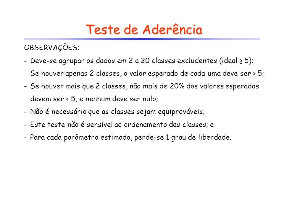 Teste de Aderência OBSERVAÇÕES: -Deve-se agrupar os dados em 2 a 20 classes excludentes (ideal 5); -Se houver apenas 2 classes, o valor esperado de ca