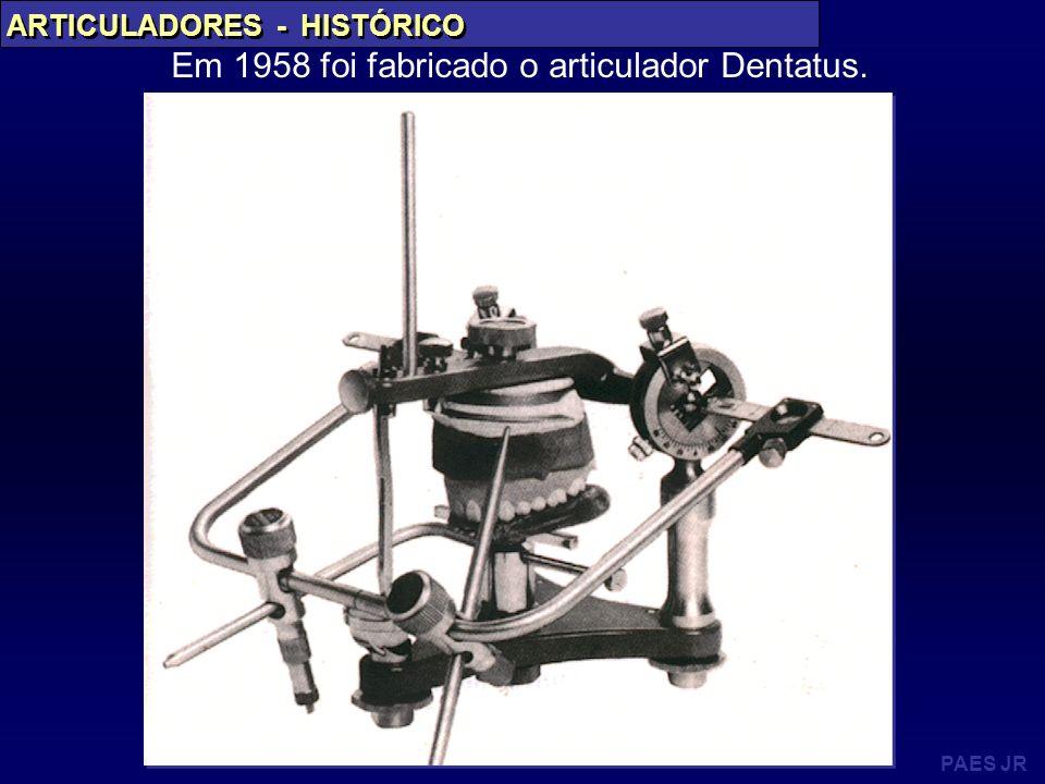 PAES JR ARTICULADORES - HISTÓRICO Em 1958 foi fabricado o articulador Dentatus.