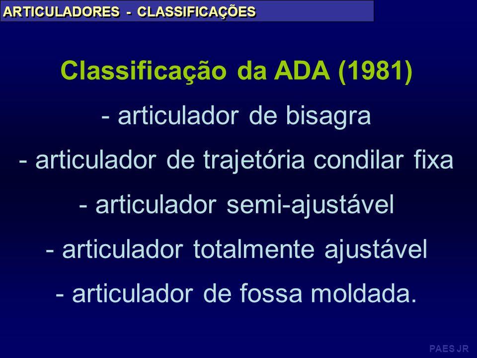 PAES JR ARTICULADORES - CLASSIFICAÇÕES Classificação da ADA (1981) - articulador de bisagra - articulador de trajetória condilar fixa - articulador se