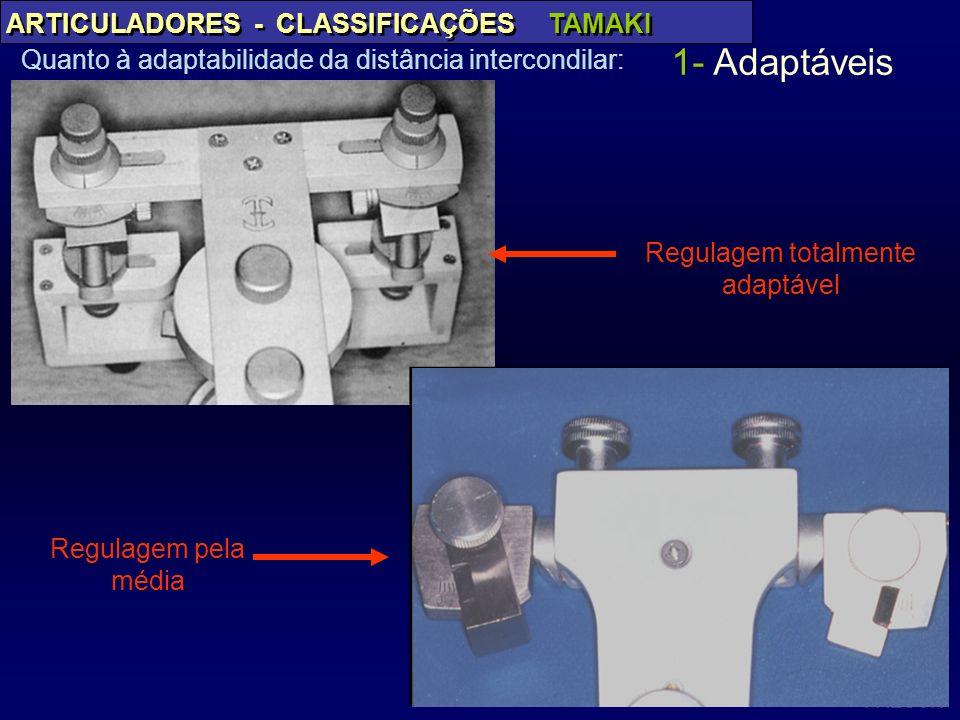PAES JR ARTICULADORES - CLASSIFICAÇÕES TAMAKI Quanto à adaptabilidade da distância intercondilar: 1- Adaptáveis Regulagem pela média Regulagem totalme