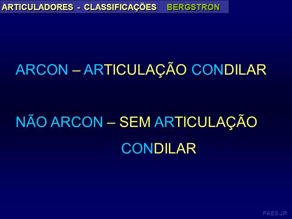 PAES JR ARTICULADORES - CLASSIFICAÇÕES BERGSTRON ARCON – ARTICULAÇÃO CONDILAR NÃO ARCON – SEM ARTICULAÇÃO CONDILAR