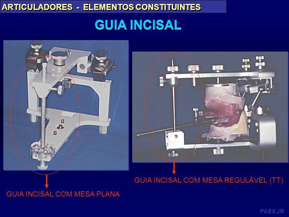 PAES JR ARTICULADORES - ELEMENTOS CONSTITUINTES GUIA INCISAL GUIA INCISAL COM MESA PLANA GUIA INCISAL COM MESA REGULÁVEL (TT)