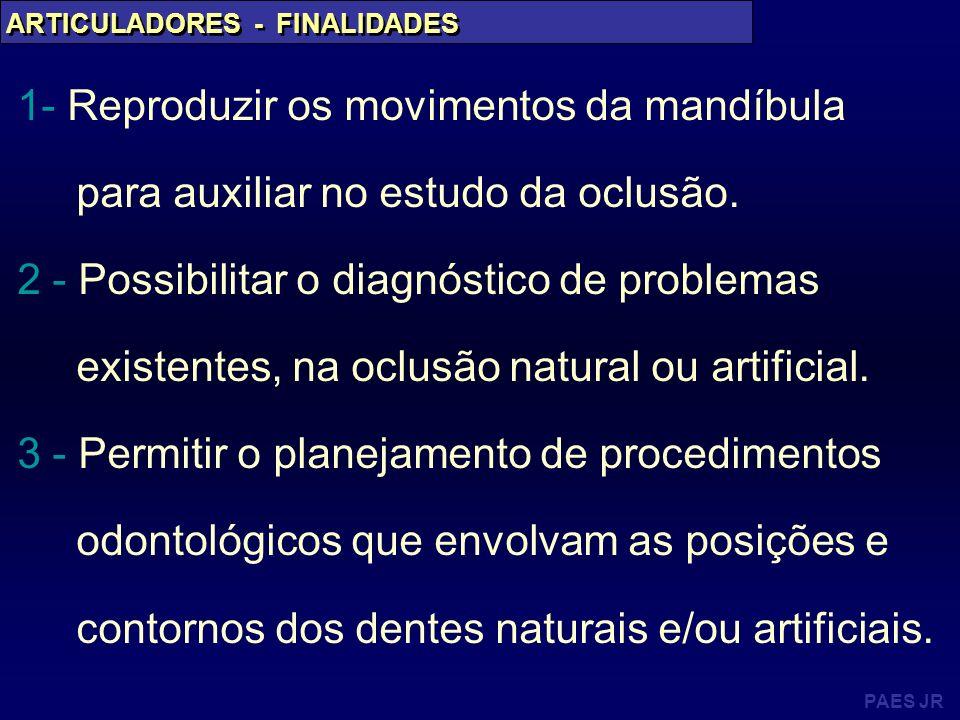 ARTICULADORES - FINALIDADES 1- Reproduzir os movimentos da mandíbula para auxiliar no estudo da oclusão. 2 - Possibilitar o diagnóstico de problemas e