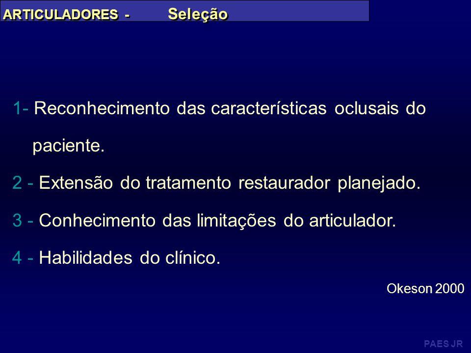 PAES JR ARTICULADORES - Seleção 1- Reconhecimento das características oclusais do paciente. 2 - Extensão do tratamento restaurador planejado. 3 - Conh