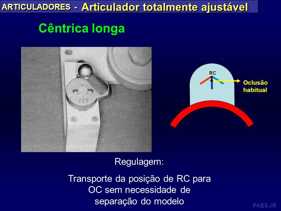 PAES JR ARTICULADORES - Articulador totalmente ajustável Cêntrica longa Regulagem: Transporte da posição de RC para OC sem necessidade de separação do