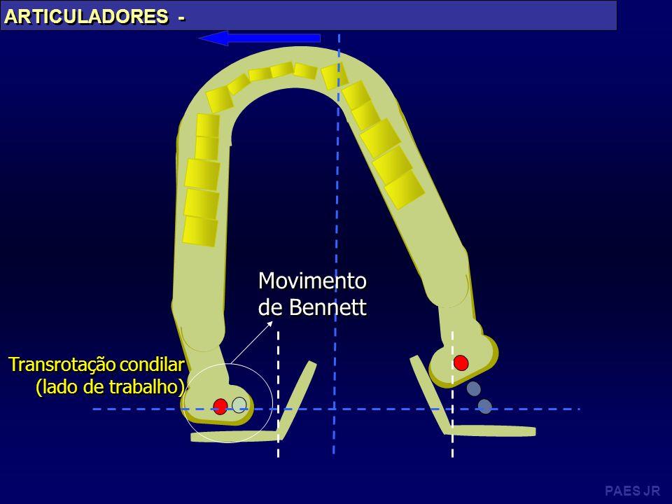 PAES JR ARTICULADORES - Transrotação condilar (lado de trabalho) Transrotação condilar (lado de trabalho) Movimento de Bennett