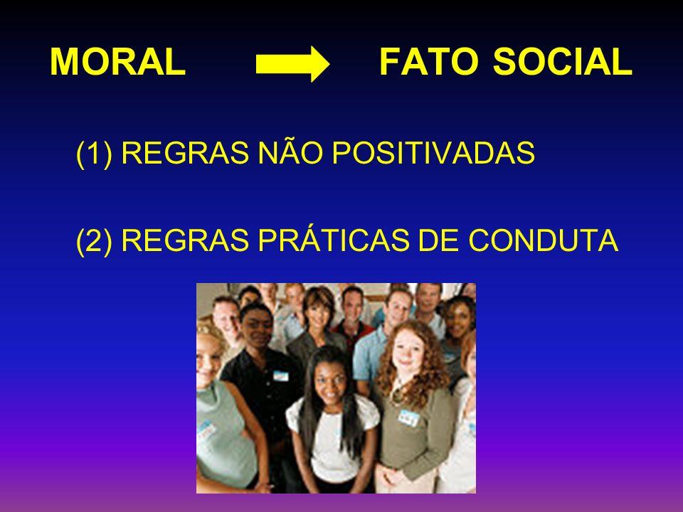 MORAL FATO SOCIAL (1) REGRAS NÃO POSITIVADAS (2) REGRAS PRÁTICAS DE CONDUTA