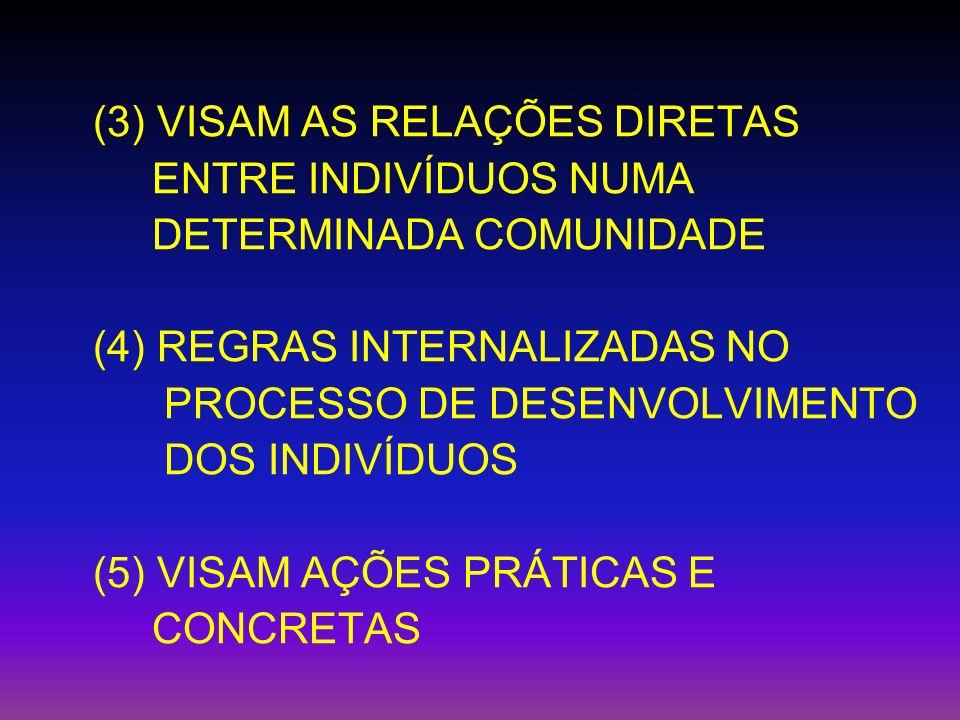 (3) VISAM AS RELAÇÕES DIRETAS ENTRE INDIVÍDUOS NUMA DETERMINADA COMUNIDADE (4) REGRAS INTERNALIZADAS NO PROCESSO DE DESENVOLVIMENTO DOS INDIVÍDUOS (5)