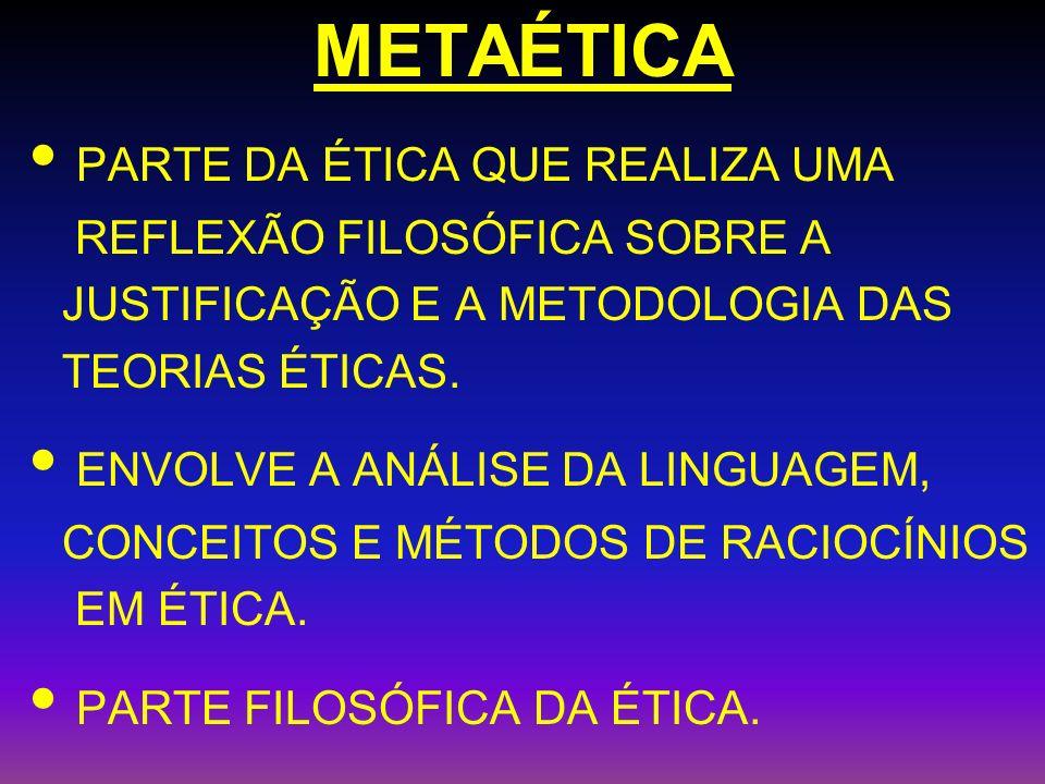 METAÉTICA PARTE DA ÉTICA QUE REALIZA UMA REFLEXÃO FILOSÓFICA SOBRE A JUSTIFICAÇÃO E A METODOLOGIA DAS TEORIAS ÉTICAS. ENVOLVE A ANÁLISE DA LINGUAGEM,