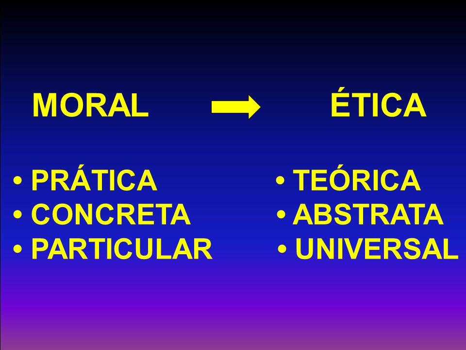 MORAL ÉTICA PRÁTICA TEÓRICA CONCRETA ABSTRATA PARTICULAR UNIVERSAL