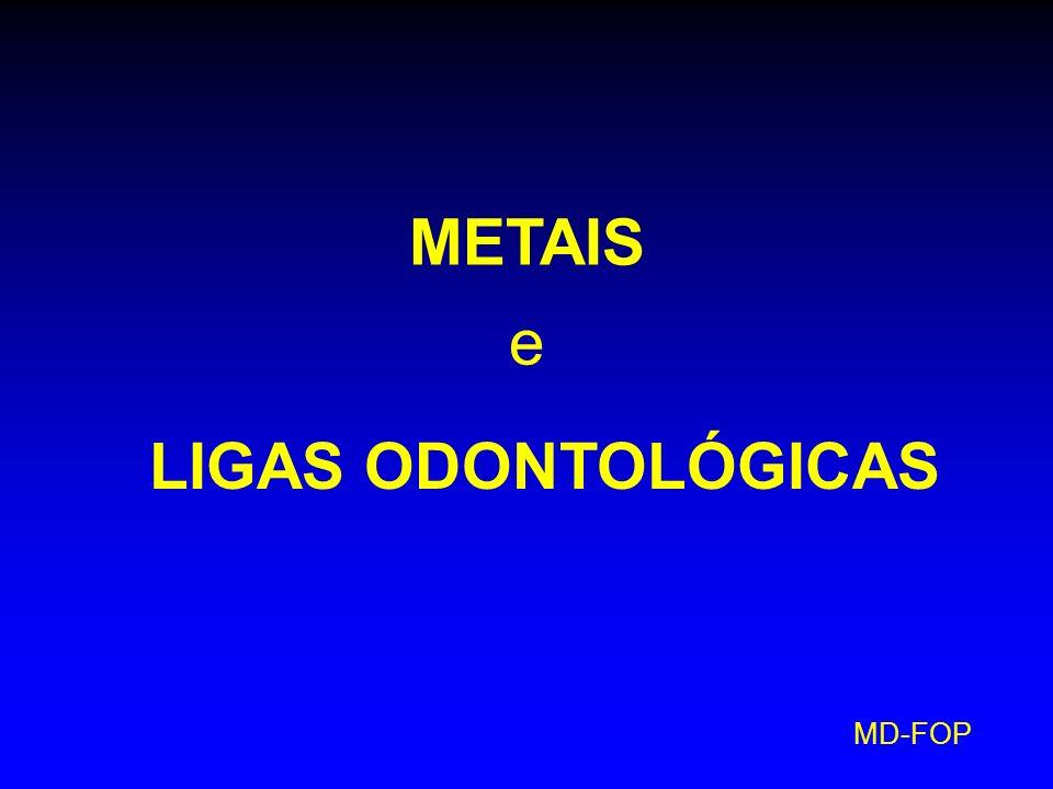 MD-FOP Ligas de Metais Altamente Nobres para Restaurações Metalocerâmicas 1) Ligas de Ouro- Platina- Paládio Au: até 88% Pt e Pd: variável metais não-nobres: pequenas quantias são amarelas dúcteis (PPF no máx.
