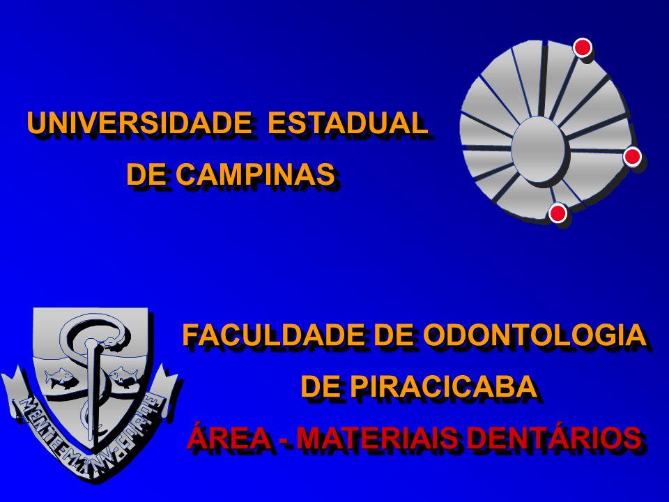 UNIVERSIDADE ESTADUAL DE CAMPINAS UNIVERSIDADE ESTADUAL DE CAMPINAS FACULDADE DE ODONTOLOGIA DE PIRACICABA DE PIRACICABA ÁREA - MATERIAIS DENTÁRIOS FA