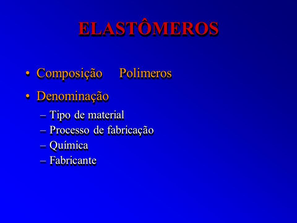 ELASTÔMEROSELASTÔMEROS Composição PolimerosComposição Polimeros DenominaçãoDenominação –Tipo de material –Processo de fabricação –Química –Fabricante