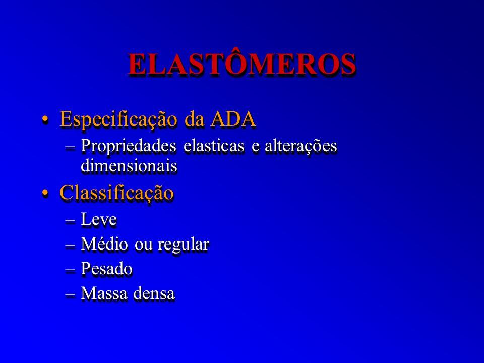 ELASTÔMEROSELASTÔMEROS Especificação da ADAEspecificação da ADA –Propriedades elasticas e alterações dimensionais ClassificaçãoClassificação –Leve –Mé