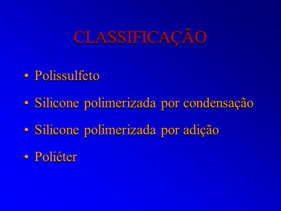 CLASSIFICAÇÃO Polissulfeto Silicone polimerizada por condensação Silicone polimerizada por adição Poliéter Polissulfeto Silicone polimerizada por cond