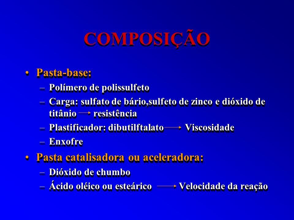 COMPOSIÇÃO Pasta-base:Pasta-base: –Polímero de polissulfeto –Carga: sulfato de bário,sulfeto de zinco e dióxido de titânio resistência –Plastificador: