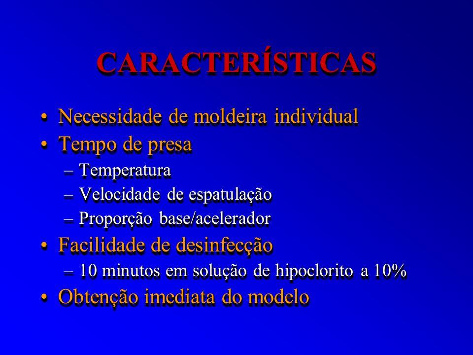 CARACTERÍSTICASCARACTERÍSTICAS Necessidade de moldeira individualNecessidade de moldeira individual Tempo de presaTempo de presa –Temperatura –Velocid