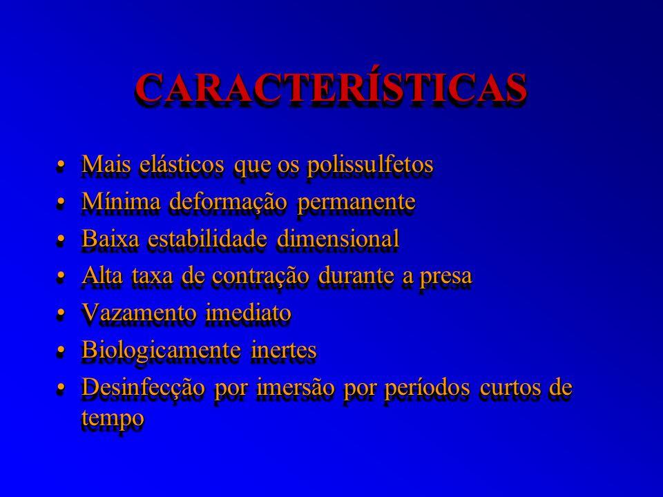 CARACTERÍSTICASCARACTERÍSTICAS Mais elásticos que os polissulfetosMais elásticos que os polissulfetos Mínima deformação permanenteMínima deformação pe