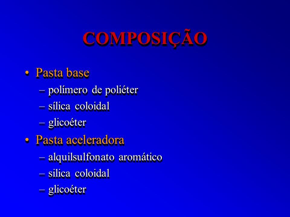 COMPOSIÇÃOCOMPOSIÇÃO Pasta basePasta base –polímero de poliéter –sílica coloidal –glicoéter Pasta aceleradoraPasta aceleradora –alquilsulfonato aromát