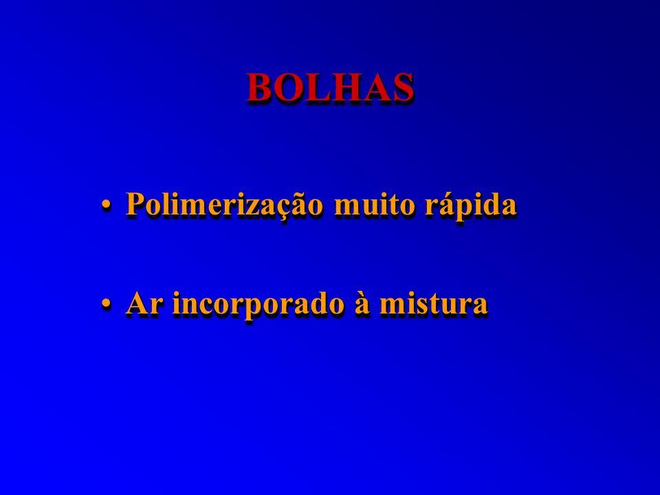 BOLHASBOLHAS Polimerização muito rápidaPolimerização muito rápida Ar incorporado à misturaAr incorporado à mistura Polimerização muito rápidaPolimeriz
