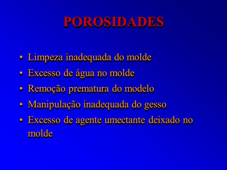 POROSIDADESPOROSIDADES Limpeza inadequada do moldeLimpeza inadequada do molde Excesso de água no moldeExcesso de água no molde Remoção prematura do mo