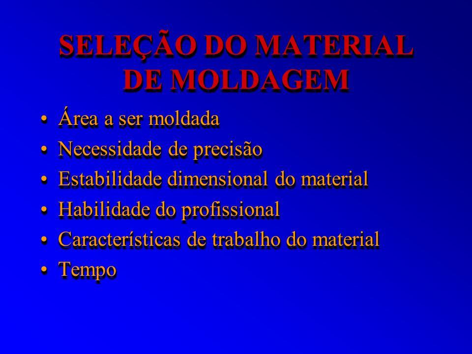 SELEÇÃO DO MATERIAL DE MOLDAGEM Área a ser moldadaÁrea a ser moldada Necessidade de precisãoNecessidade de precisão Estabilidade dimensional do materi