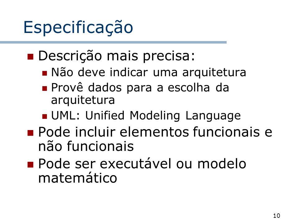 10 Especificação Descrição mais precisa: Não deve indicar uma arquitetura Provê dados para a escolha da arquitetura UML: Unified Modeling Language Pod