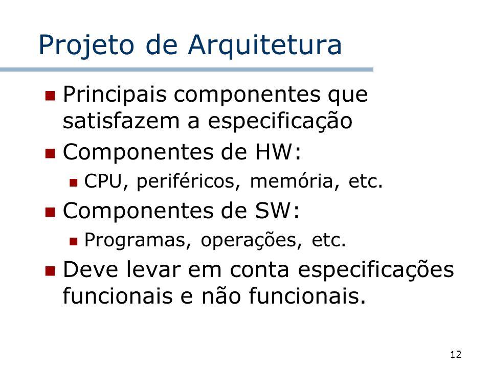 12 Projeto de Arquitetura Principais componentes que satisfazem a especificação Componentes de HW: CPU, periféricos, memória, etc. Componentes de SW: