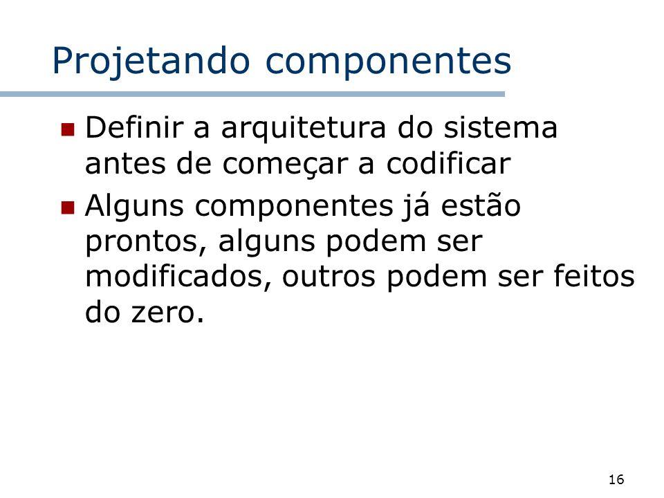 16 Projetando componentes Definir a arquitetura do sistema antes de começar a codificar Alguns componentes já estão prontos, alguns podem ser modifica