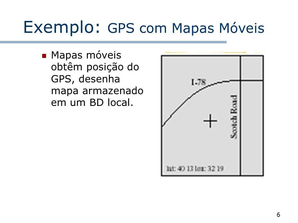 6 Exemplo: GPS com Mapas Móveis Mapas móveis obtêm posição do GPS, desenha mapa armazenado em um BD local.