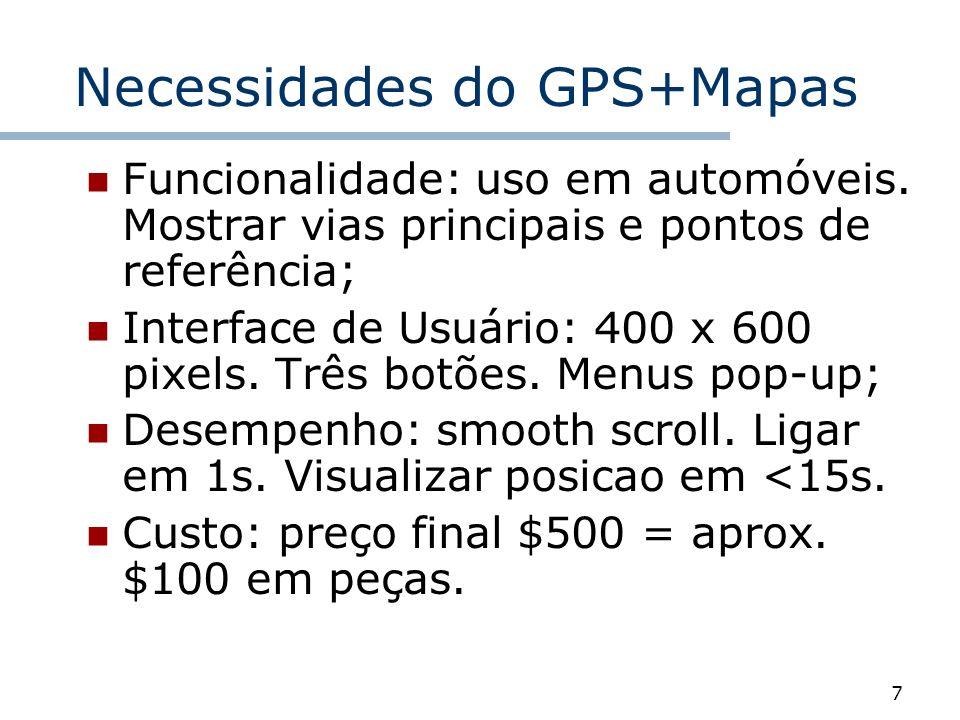 7 Necessidades do GPS+Mapas Funcionalidade: uso em automóveis. Mostrar vias principais e pontos de referência; Interface de Usuário: 400 x 600 pixels.