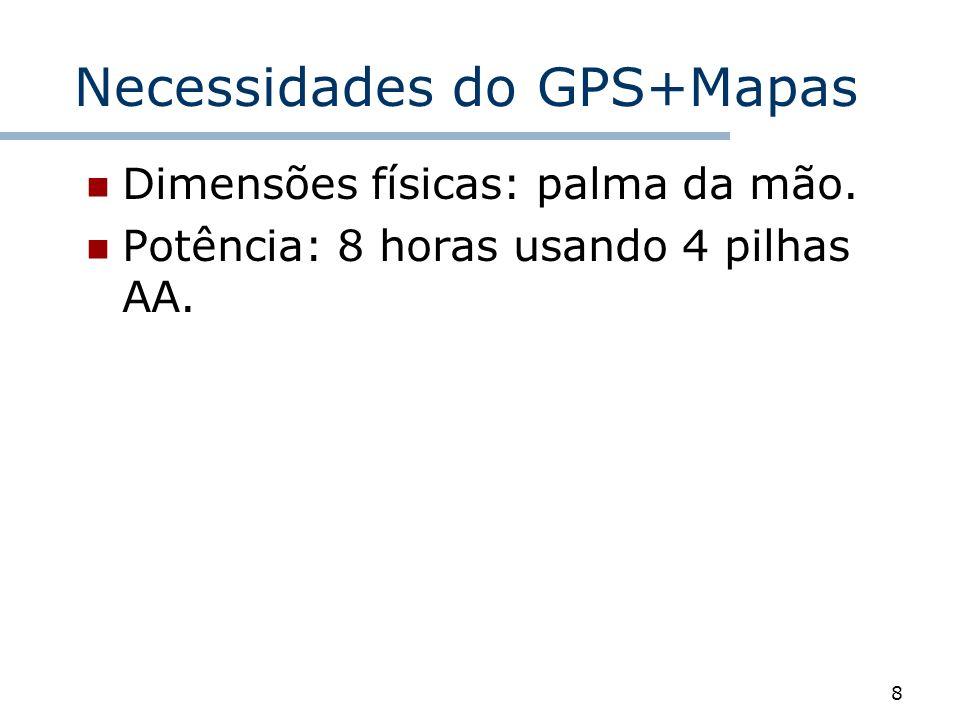 8 Necessidades do GPS+Mapas Dimensões físicas: palma da mão. Potência: 8 horas usando 4 pilhas AA.