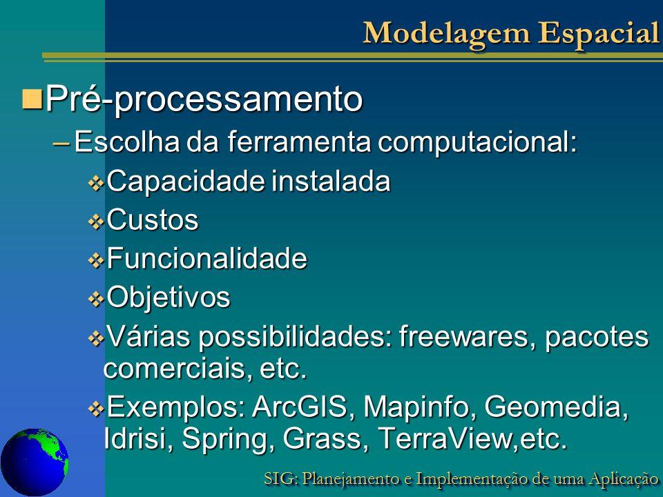 SIG: Planejamento e Implementação de uma Aplicação Modelagem Espacial Pré-processamento Pré-processamento –Escolha da ferramenta computacional: Capaci