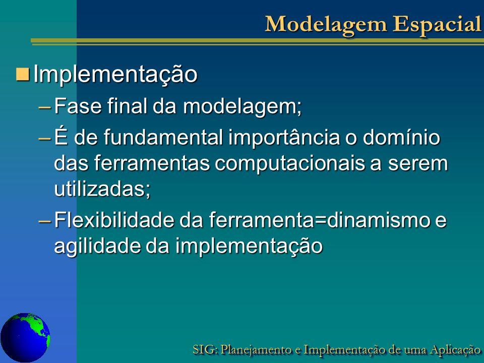 SIG: Planejamento e Implementação de uma Aplicação Modelagem Espacial Implementação Implementação –Fase final da modelagem; –É de fundamental importân