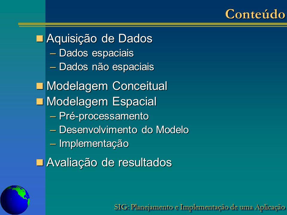 SIG: Planejamento e Implementação de uma Aplicação ConteúdoConteúdo Aquisição de Dados Aquisição de Dados –Dados espaciais –Dados não espaciais Modela