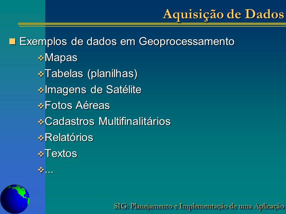 SIG: Planejamento e Implementação de uma Aplicação Aquisição de Dados Exemplos de dados em Geoprocessamento Exemplos de dados em Geoprocessamento Mapa