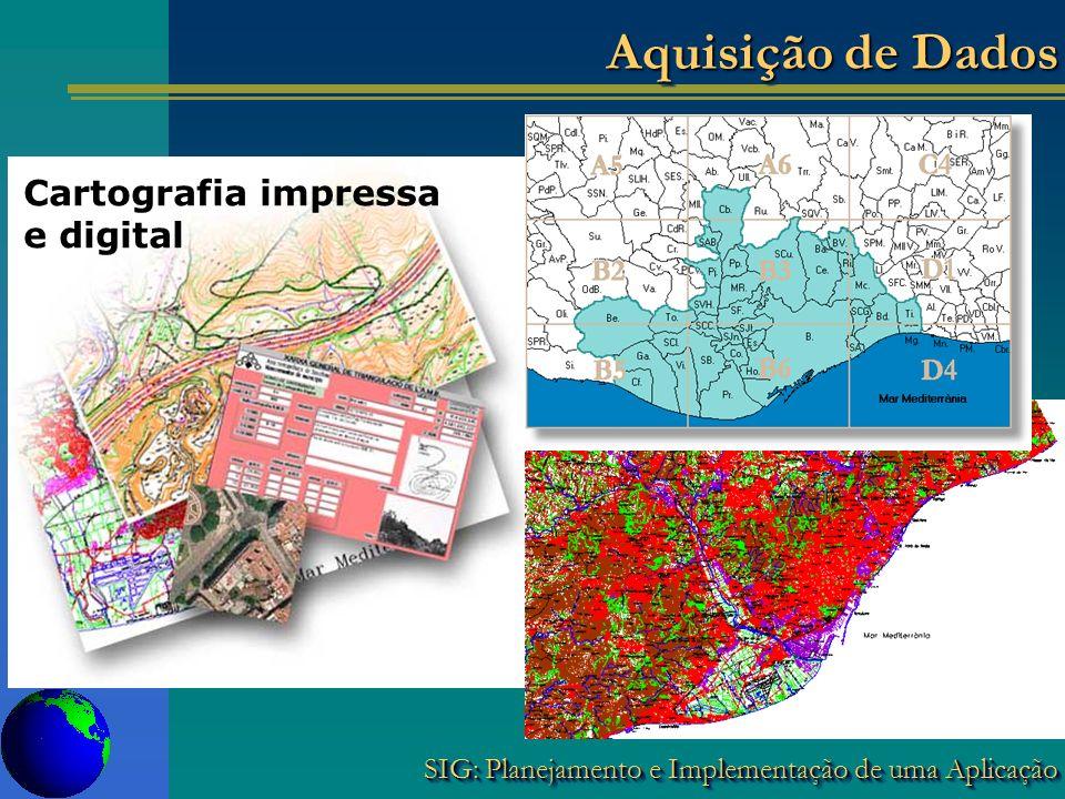 SIG: Planejamento e Implementação de uma Aplicação Cartografia impressa e digital Aquisição de Dados