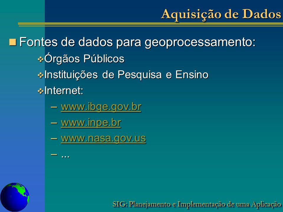 SIG: Planejamento e Implementação de uma Aplicação Aquisição de Dados Fontes de dados para geoprocessamento: Fontes de dados para geoprocessamento: Ór