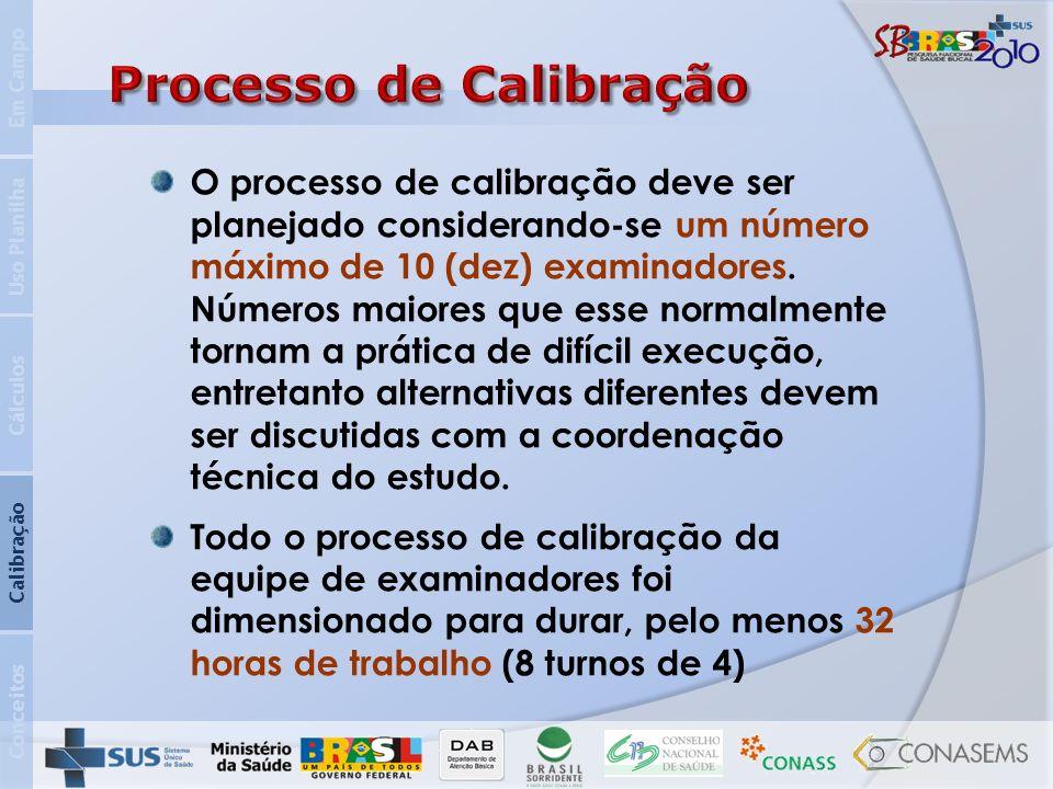 Conceitos Calibração Cálculos Uso Planilha Em Campo O processo de calibração deve ser planejado considerando-se um número máximo de 10 (dez) examinado
