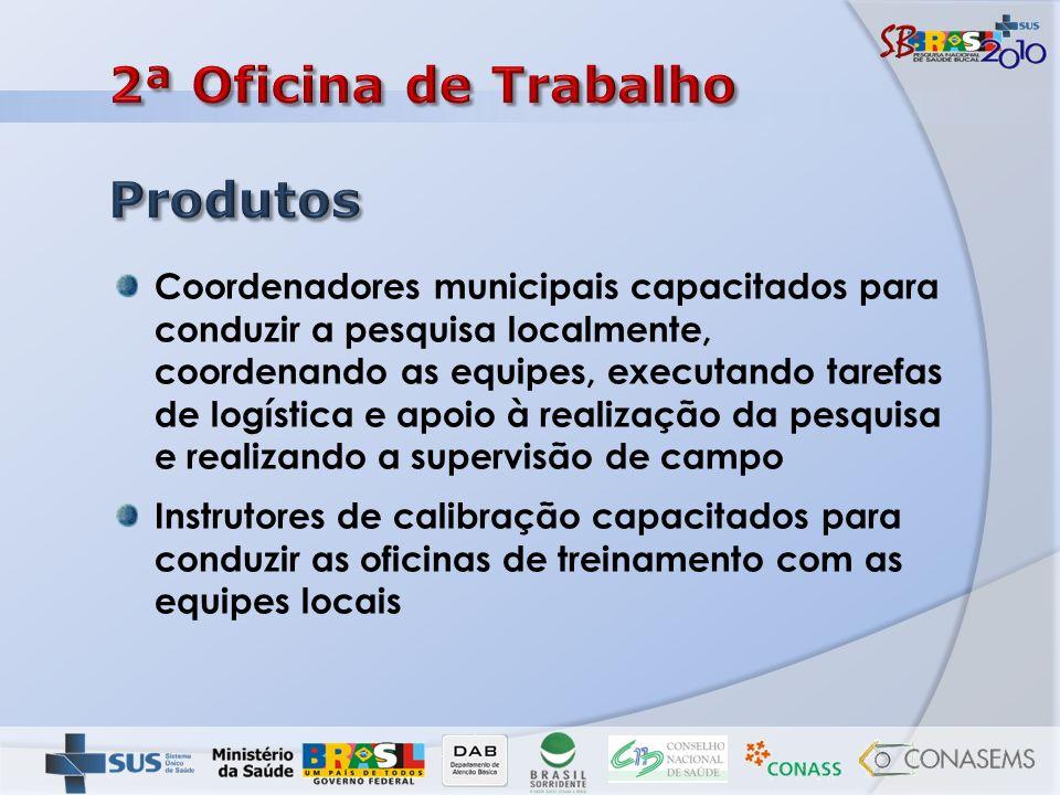 Coordenadores municipais capacitados para conduzir a pesquisa localmente, coordenando as equipes, executando tarefas de logística e apoio à realização