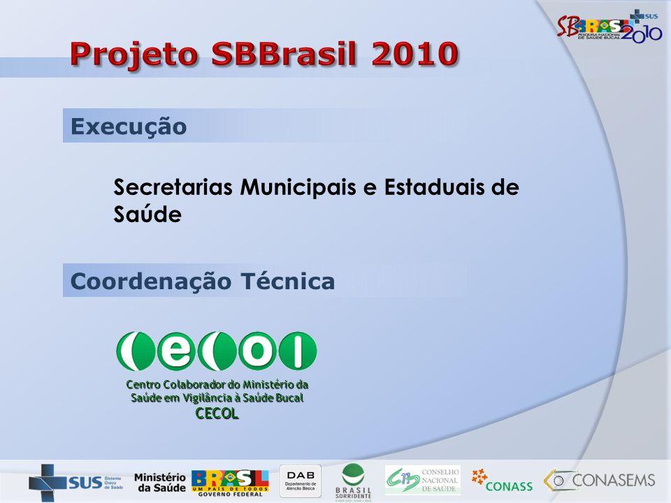 Execução Coordenação Técnica Secretarias Municipais e Estaduais de Saúde Centro Colaborador do Ministério da Saúde em Vigilância à Saúde Bucal CECOL