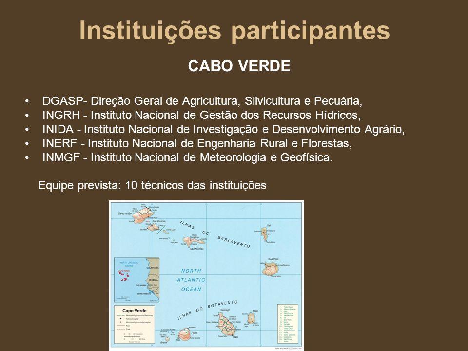 Instituições participantes PORTUGAL LNEC- Laboratório Nacional de Engenharia Civil ISA - Instituto Superior de Agronomia Equipe prevista: 7 pesquisadores-doutores em recursos hídricos, hidrogeologia, ciências agrárias e similares.