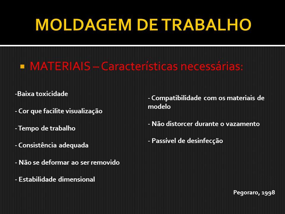 MATERIAIS – Características necessárias: -Baixa toxicidade - Cor que facilite visualização - Tempo de trabalho - Consistência adequada - Não se deform