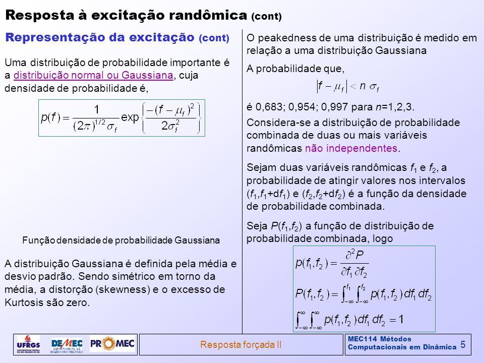 MEC114 Métodos Computacionais em Dinâmica DEPARTAMENTO DE ENGENHARIA MECÂNICA Resposta forçada II6 Resposta à excitação randômica (cont) Representação da excitação (cont) A função densidade de probabilidade p(f 1,f 2 ) pode ser exposta como uma superfície sobre um plano horizontal.