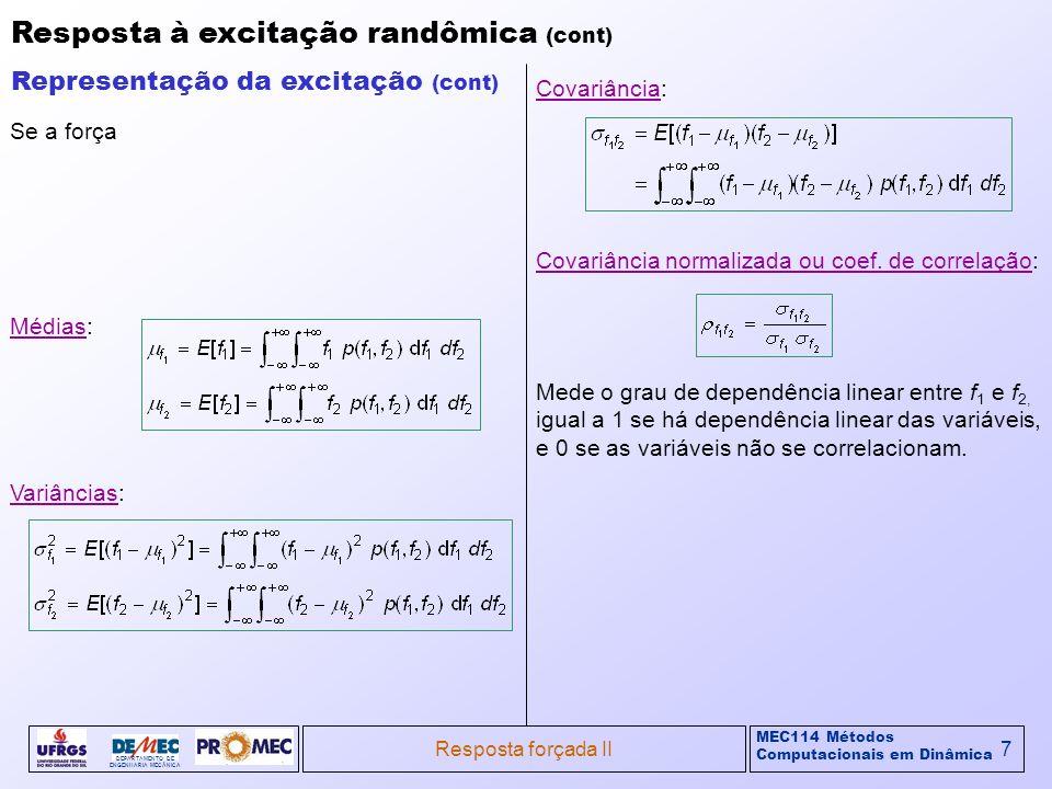 MEC114 Métodos Computacionais em Dinâmica DEPARTAMENTO DE ENGENHARIA MECÂNICA Resposta forçada II7 Resposta à excitação randômica (cont) Representação