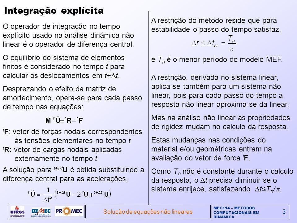 MEC114 – MÉTODOS COMPUTACIONAIS EM DINÂMICA DEPARTAMENTO DE ENGENHARIA MECÂNICA Solução de equações não lineares4 Integração implícita Os esquemas de integração implícita no tempo para análise dinâmica linear servem para análise não linear.