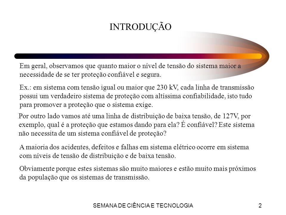 SEMANA DE CIÊNCIA E TECNOLOGIA3 CONCEITOS FUNDAMENTAIS Zona de Proteção: É o trecho de uma rede de distribuição protegido por um equipamento de proteção.